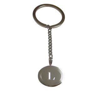 Etched Oval Letter L Monogram Pendant Keychain